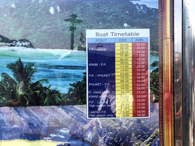 ピピ島からプーケット・ラサダ港への行き方!フェリー乗り場・予約・時刻表も完璧!:フェリー時刻表